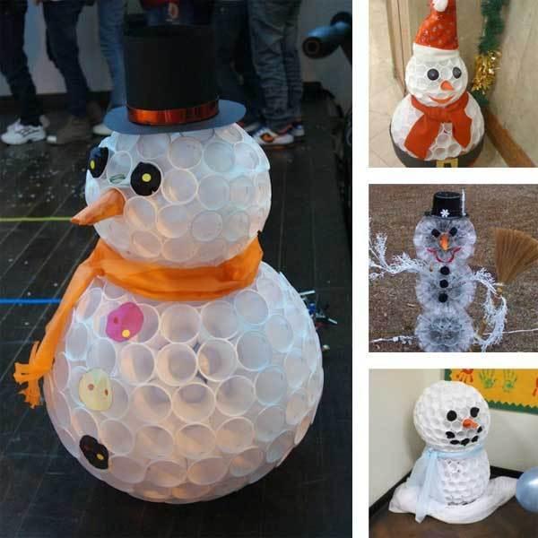 Как сделать своими руками снеговика из пластиковых стаканчиков своими руками