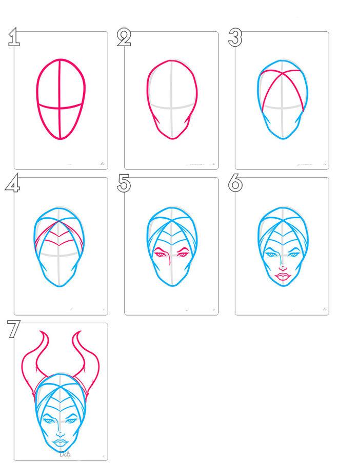 Как рисовать малефисенту поэтапно