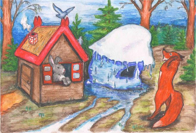 как нарисовать сказку лиса и заяц