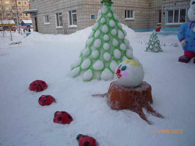 Елка из снега своими руками фото