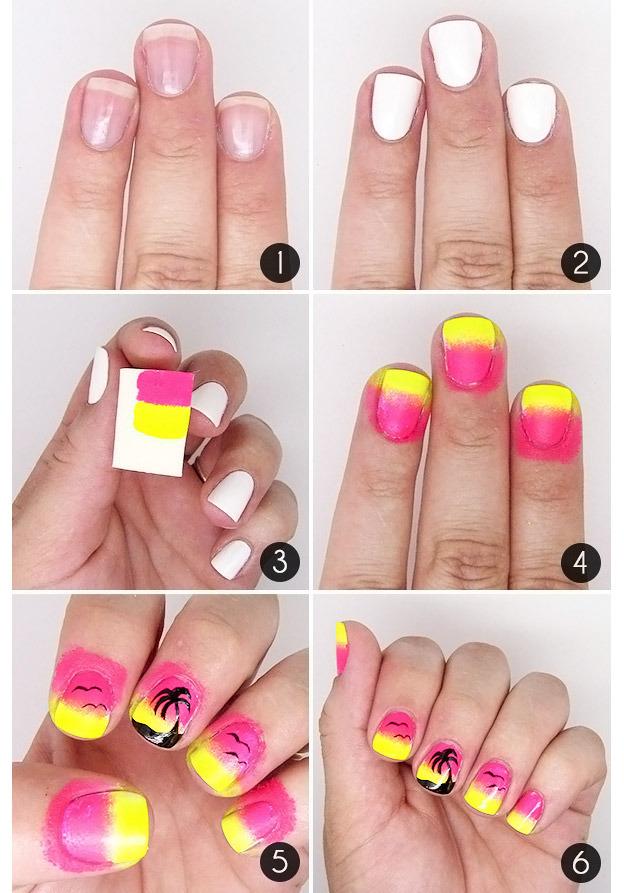Как рисовать пальмы на ногтях