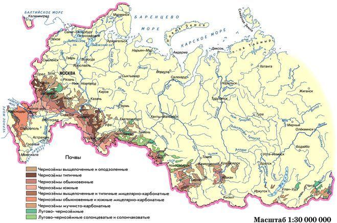 карта с чернозёмными районами к вопросу о плодородных землях