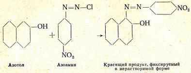реакция между азотолом и азоамином с получением окрашенного соединения