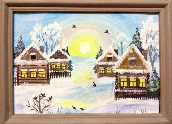 Как нарисовать зимнее утро поэтапно для детей мастер-класс гуашь