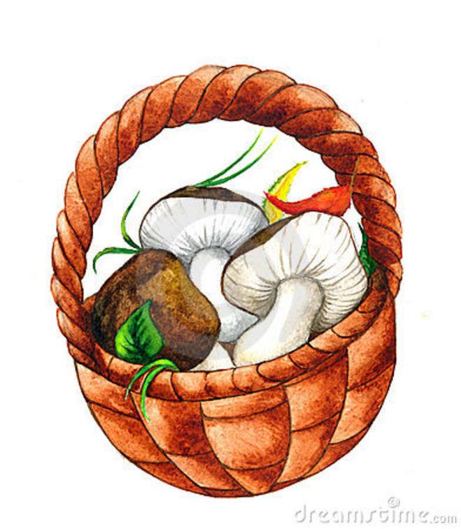 Корзинка с грибами нарисованная