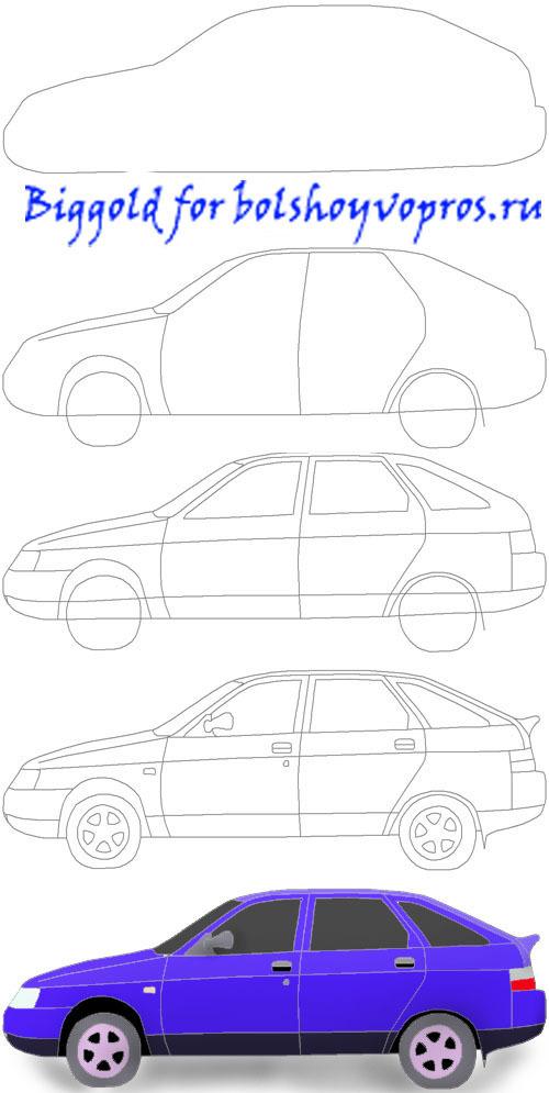 Машина ваз рисовать карандашом 157