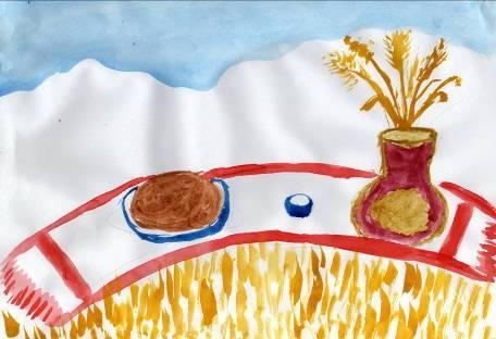 Детский рисунок хлеб всему голова