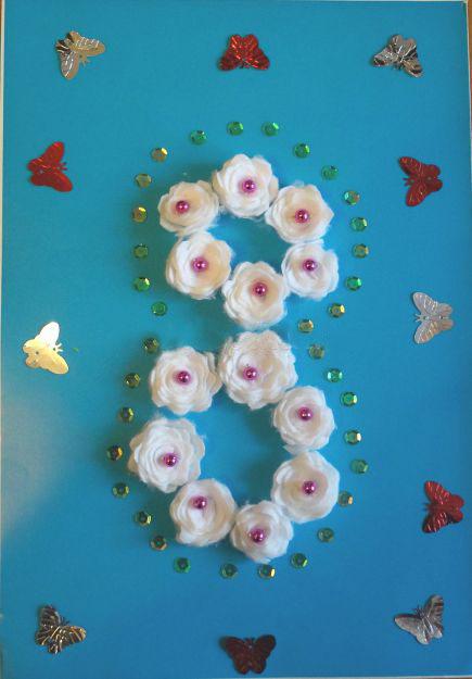 цветы из ватных дисков своими руками для 8 марта