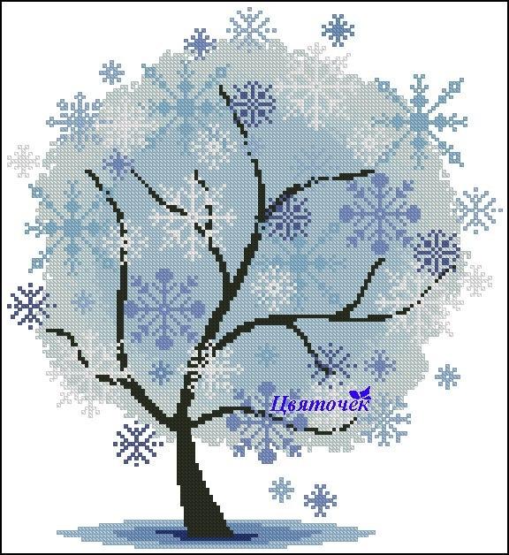 Схема вышивка деревья времена года